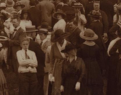 Crowd of people on Riverside Drive and 93rd Street Manhattan 1918