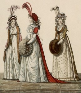 historical novelLadies with muffs and plumed hats in 1760 261x300 A Brief History of the Fur Muff