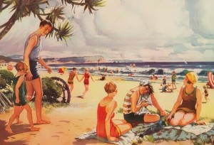 historical novelfamily enjoying beach illustration 300x204 Vintage Clothing Stores in Los Angeles with Mom
