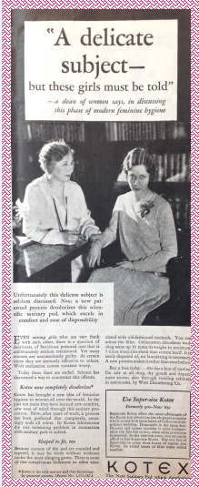 Advertisement from 1922 showing a dean facing the grim prospect of telling students about a new phase in feminine hygiene: deodorized napkins