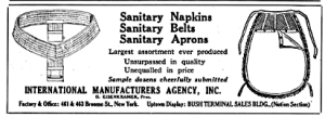 Sanitary belt and rubber sanitary apron for added security from 1912