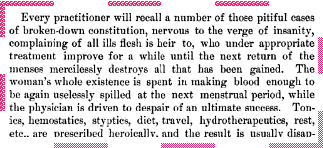 A doctor bemoans the problem of women losing too much blood from menstruation in the American Journal of Obstetrics and Gynecology, 1889