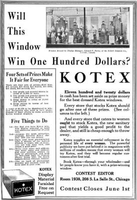 1922 Northwestern Druggist Advertisement Announcing Window Display contest for Kotex