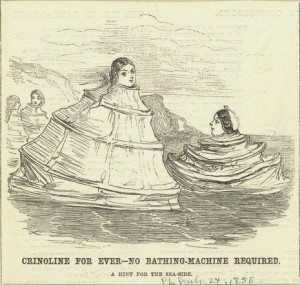 Crinoline as solution for bathing suit modesty -- 1858